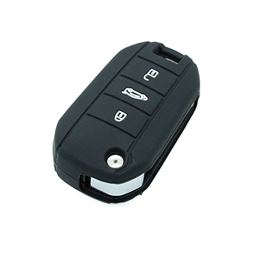 Fassport Silicone Cover Skin Jacket fit for PEUGEOT 3 Button Flip Remote Key CV3300 Black