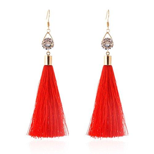 DAY.LIN Petticoat Kleid Rock Damen Rockabilly Kleid Bohemian Damenmode Woolen Quasten Ohrring Wunderschöne Creolen Schmuck (Rot)
