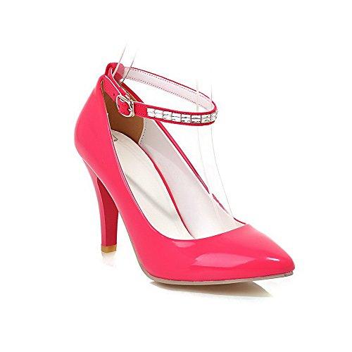 VogueZone009 Femme Verni Fermeture DOrteil Pointu à Talon Haut Boucle Couleur Unie Chaussures Légeres Rose Tendre