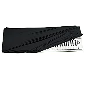 QMG Stretchable Keyboard Dust Cover Key-Keyboard: All Digital Pianos & Consoles - Adjustable Elastic Cord; Machine Washable
