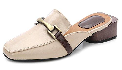 Mme été pantoufles Baotou, épais avec boucle carrée en métal à talons hauts sandales et chaussures de sport tête carrée apricot