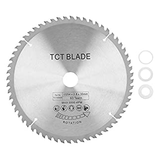 Hoja de sierra circular, hoja de sierra de madera de carburo de disco de corte de 254 * 30 mm 60 con arandela para cortar metal, madera, plástico, etc.