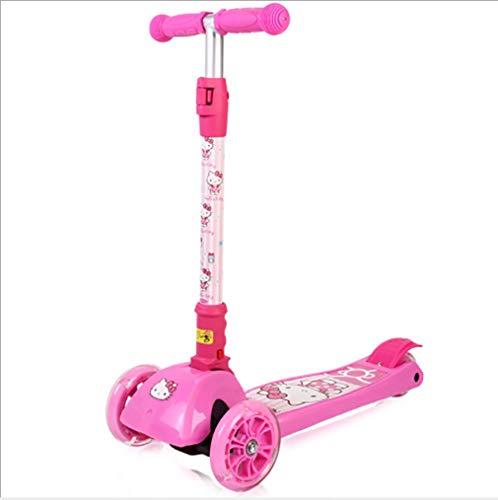 ZHANGXIAOFENG Scooter de Tres Ruedas Plegable para niños de Hello Kitty para niños de 5 a 12 años.