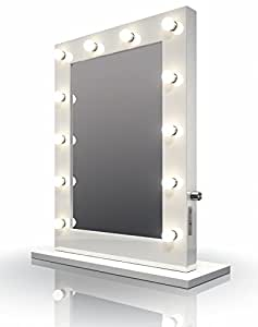 diamond x collection high gloss white hollywood makeup mirror with cool white led lamps k113cw