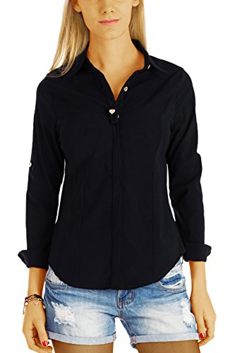 bestyledberlin Damen Blusen, Super Slim Fit Damenblusen, Elegante Hemden Tailliert t65z L/XL Schwarz (Knopf-manschette Stretch-blazer -)