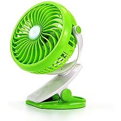 YUJJ Clip Fan, Clip de la Poussette sur USB en Cours de Chargement 360 ° Dortoir étudiant Bureau Rotationmute étudiant Bureau,Green,d