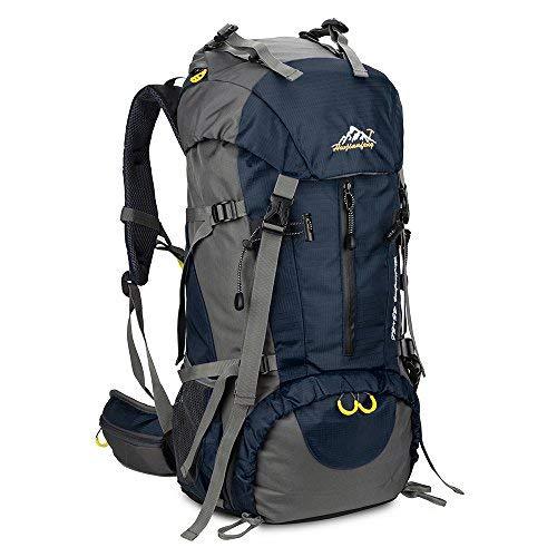 SKYSPER Sac à Dos de Randonnée 50L (45 + 5) en Nylon avec Housse de Protection Imperméable Ultraléger pour Alpinisme Escalade Trekking Sport Voyage Camping Bleu Foncé