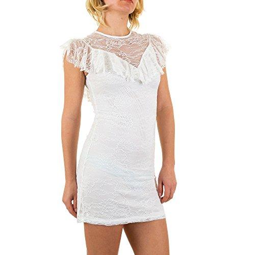 Volant Spitzen Kleid Für Damen bei Ital-Design Weiß ...