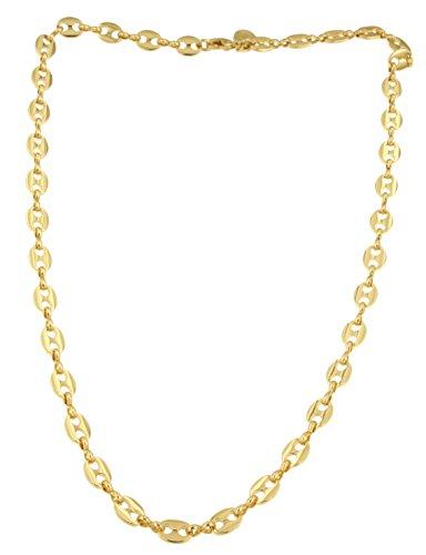 Collier Chaîne Grain de Café 18ct or doublé, 7 mm, 45 cm, Femme Homme Cadeau Bijoux de l'usine italienne tendenze
