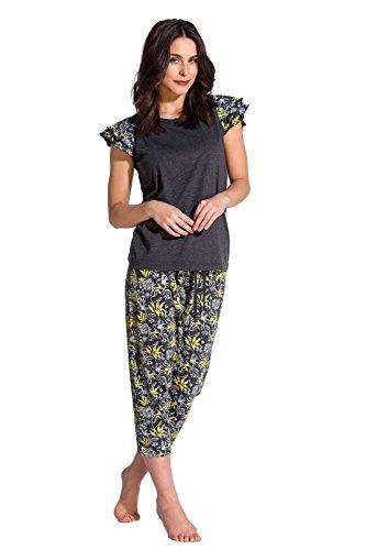 TESPOL Trendiges und bequemes Damen Shorty/Capri-Pyjama in Stylischem Design, anthrazit-Caprihose, Gr. M -