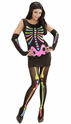 chsenenkostüm Neon Skeleton Girl, Kleid und Armstulpen, Größe S (Neon Farbige Halloween Kostüme)
