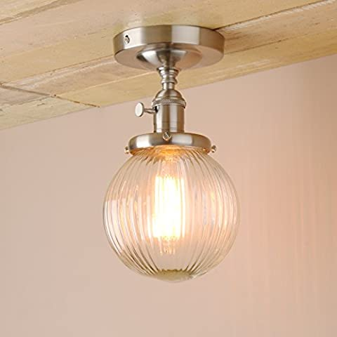 Pathson Industrial Modern Vintage Retro Flush Mount Ceiling Pendant Light Fittings Loft Bar Kitchen Island Lamp Fixture Chandelier with Ribbed Globe Clear Glass Light Shade (Brushed)