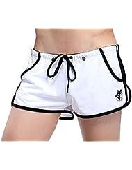 Demarkt Pantalon Court de Sport/ Short de Bain/ Sou-vetement pour Hommes - Blanc- Taille S/M/L