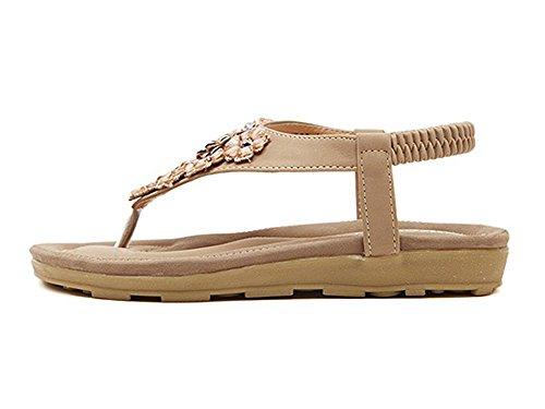 YOUJIA Damen Bling Fläche Schuhe Elastische Strap Sandalen Strass Outdoor Schuhe Aprikose