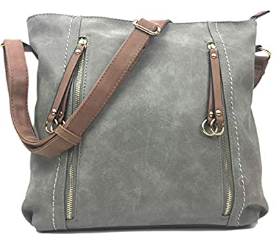Designer Handbags for Women MILANO Classic Italian Styled Fashion Shoulder Bag/Slouch in Beautiful Matt Finish Vintage Faux Nu Buck Leather with Adjustable Shoulder Strap.