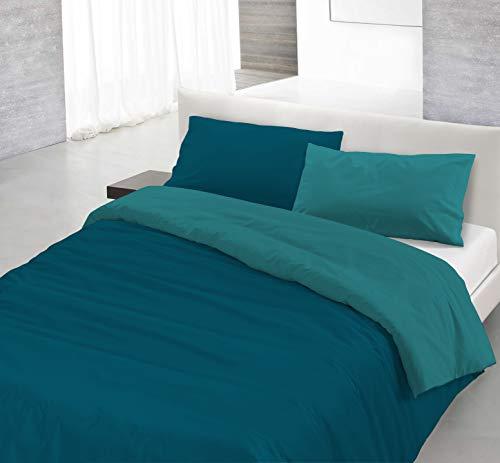 Italian Bed Linen Natural Color Parure Copripiumino con Sacco e Federa, 100% Cotone, Verde Petrolio/Verde Bottiglia, a una Piazza e Mezza, 200 x 200 cm, 2 Unità