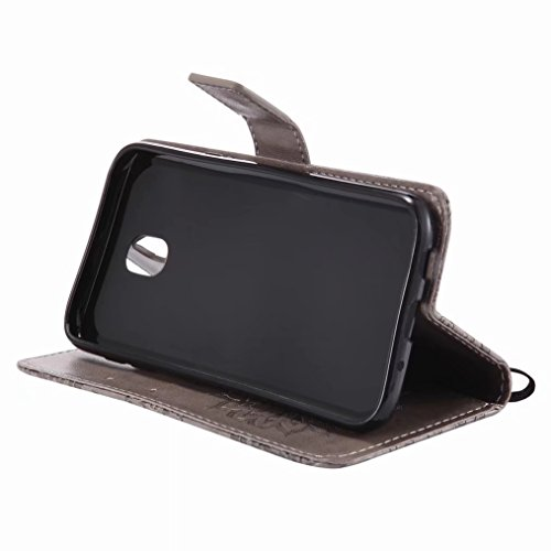 LEMORRY Samsung Galaxy J5 (2017) / J530 Custodia Pelle Cuoio Flip Portafoglio Borsa Sottile Bumper Protettivo Magnetico Morbido Silicone TPU Cover Custodia per Galaxy J5 2017, Fiorire (Porpora) Grigio