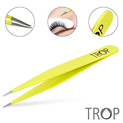 TROP Precision Tweezers made of Stainless Steel with perfectly interlocking tips – Universally applicable: plucking hair / eyebrows, removing splinters and splinters, fine work and repairs – with 2 years money-back guarantee