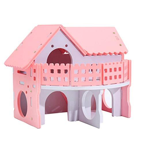 Changlesu Pink Hamster Cage Self Assembly Holz Kunststoffplatte Hütte Hideout Meerschweinchen Kaninchen Käfig Kleine Hamster Zubehör (Käfig Pink Meerschweinchen)