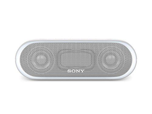 Sony Mit Lautsprecher Mp3-player (Sony SRS-XB20 Tragbarer, kabelloser Lautsprecher (farbige Lichtleiste, Extra Bass, Bluetooth, NFC, wasserabweisend, bis zu 12 Stunden Akkulaufzeit, Wireless Party Chain) Weiß)