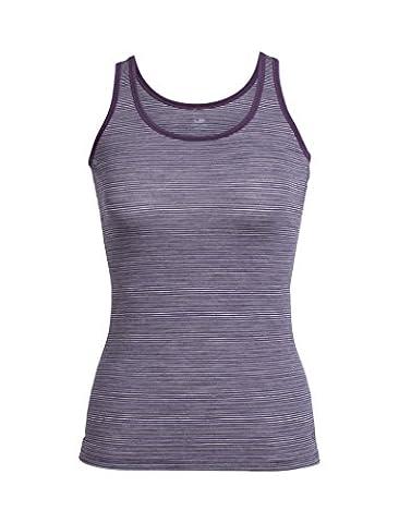 Icebreaker Women Siren Tank Underwear, Eggplant/Silk Hthr/Stripe,