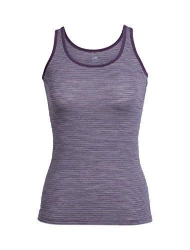 Icebreaker Damen Siren Tank Funktionsunterwäsche, Eggplant/Silk Hthr/Stripe, XS - Stripe Silk Shirt