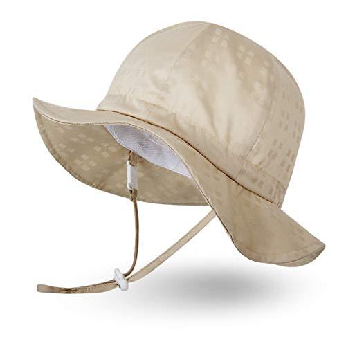 Ami&Li tots Mädchen Sonnenhut Verstellbarer Hut mit breiter Krempe Sonnenschutz UPF 50 für Baby Mädchen Jungen Säugling Kind Kleinkind Unisex - M: Hellgoldenes Plaid -