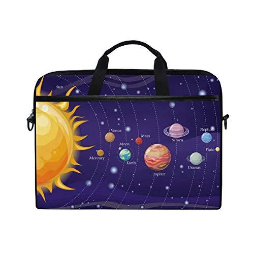 LOSNINA Laptop Tasche 15-15.4 Zoll,Sonne Merkur Venus Mond Erde Mars Jupiter Saturn Uranus Neptun Pluto Am Nachthimmel,Neue Drucken Muster Aktentasche Schulter Messenger Handtasche Case Sleeve