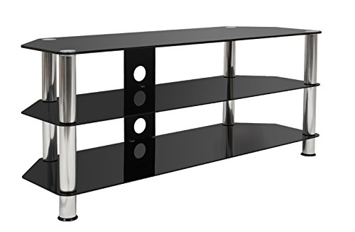 Mountright Black Glass TV Stand 120 Centimetre Wide For Televisions 32 Up To 70 Inch