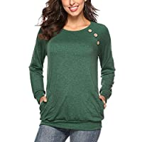 Hisweet Women's Casual Button-Down T-Shirt Crewneck Tops Long Sleeve Tunic Loose Blouses Green S
