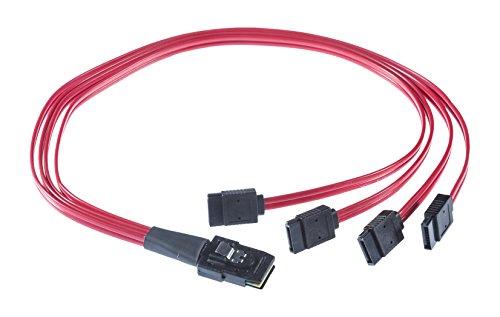 Poppstar Mini SAS Verbindungskabel mit 4x SATA Steckern 0,5 m 36-polig Anschluss von Controller Festplatten