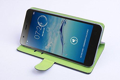 Baiwei Pu Leder Kunstleder Flip Cover Tasche Handyhülle Case für JIAYU S3 S3+ Plus Tasche Hülle Case Handytasche Handyhülle Etui (Schwarz mit Halter)
