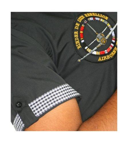 Binder de Luxe Herren Kurzarm Hemd modern fit Schwarz
