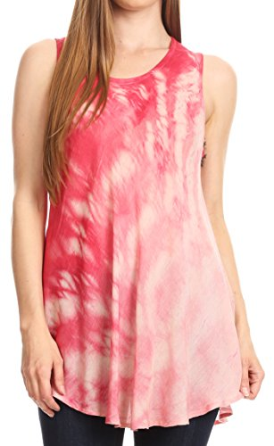 Sakkas 18806 - Saba Womens Summer Casual Tägliche Tie-Dye Tunika Tank Top Light und Soft - Pink - OS - Tie-dye-tunika
