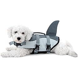 Selmai - Conjunto de chaleco salvavidas para perro, con mango ajustable en forma de tiburón, diseño divertido de alta calidad