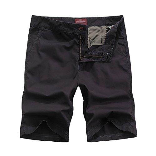 MISSMAO Herren Bermudas Shorts Vintag Kurze Hose Kariert Knielang Casual Shorts Dunkelviolett 36 (Graue Flache Kleid Hose)
