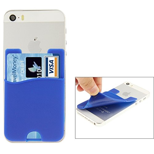 Phone case & Hülle Für iPhone 6 / 6S, iPhone 5 / 5C / 5S, iPhone 4 / 4S, und für alle Handys, Smart Wallet Silikon Card Pocket ( Color : Black ) Blue