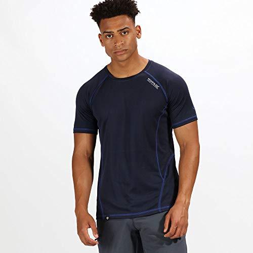 Regatta Herren Virda II Quick Drying Active Sports T-Shirt, Navy/Surf Spray, m -