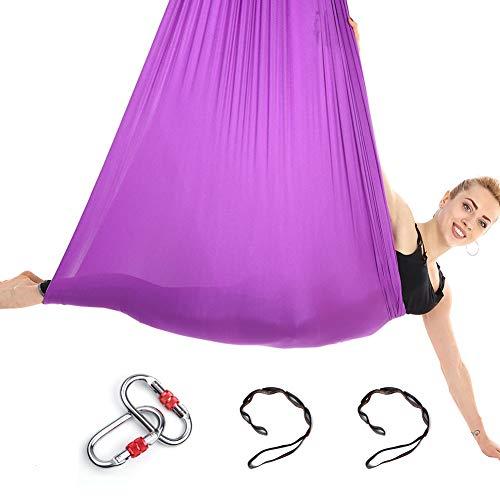 Himifuture, Amaca da Yoga in Tessuto di Seta con moschettone e Catena a Margherita, per Yoga e Pilates