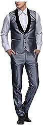 Platinum Studio Men's Mandarin Collor Waistcoat Suit (WT-770-GRY-2XL, Grey )