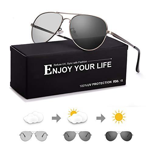 Sodqw occhiali da sole uomo fotocromatici polarizzati metallo telaio 100% uva/uvb protezione (occhiali polarizzati fotocromatici gun frame)