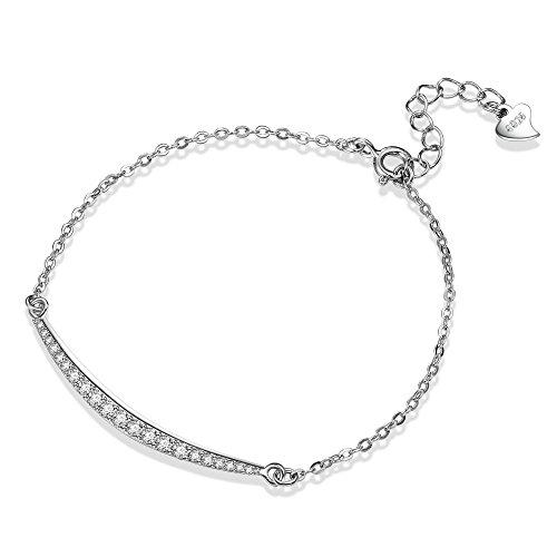F.ZENI Armbänder Damen Armband 925 Sterlingsilber Funkeln Zirkonia Lächeln Armband Mode Armbänder für Damen