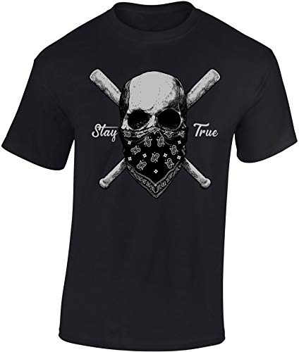 Camiseta: Stay True - Mantente Fiel - T-Shirt Hombre-s y Mujer-es - Regalo - Fútbol Ultra - Calavera Bateador Béisbol Baseball - Zombi-e - Artes Marciales Deporte de Combate MMA - Football (XXL)