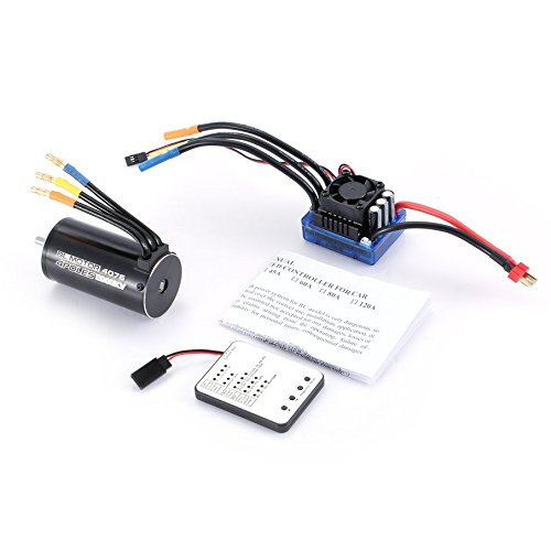 KNOSSOS 4076 2000KV Brushless Motor 120A ESC LED-Programmierkarte für 1/8 RC-Car - Blau