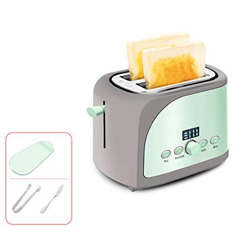 Automatik-2-Scheiben toaster Mit LCD-Anzeige 7-stufige Bräunungsgrad Einstellung Edelstahl-Toaster mit herausnehmbarem/Brotclip,Green,A (Toaster-lcd)