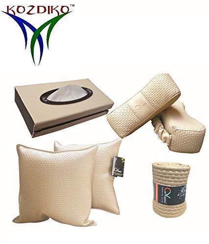 Kozdiko 2 Car Cushion Pillow,2 Neck Rest,1 Tissue Box,1 Steering Cover Beige Combo for Mahindra Kuv 100