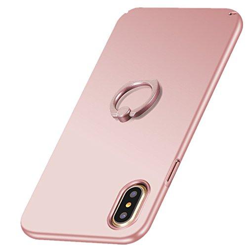 Wouier iPhone X Hülle, Mode-Design Ultra Slim Hardcase stoßfestes Handy-Hülle mit Ring Halter PC Bumper Etui Ständer für iPhone X/10 (Rose Gold, iPhone X) (Mode Design Frauen)