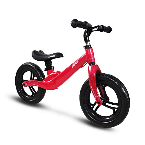 COEWSKE 12 Zoll Balance Fahrrad Magnesiumlegierung Kinder Laufrad Lernlaufrad für Jungen und Mädchen ab 2 bis 4 Jahre (Rot)
