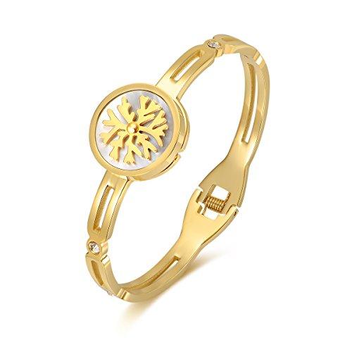Oven Moda® Mode Schmuck Titan Stahl Gold vergoldet Schneeflocke Form Manschette Armreif für Frauen