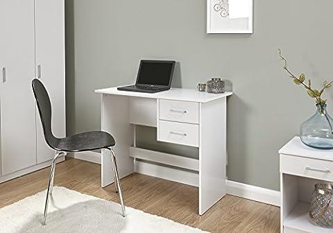 Home Source - Desk White 2 Hanging Drawer Vanity Dressing Table Computer Workstation Office